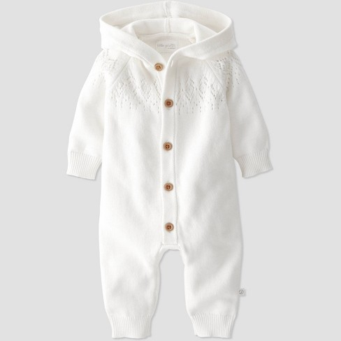 Baby Organic Cotton Knit Sweater Jumpsuit - little planet by carter's Off-White - image 1 of 3