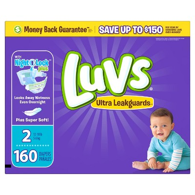 Luvs Ultra Leakguard Diapers Value Pack - Size 2 (160 ct)