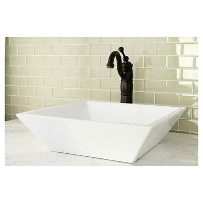 White Vitreous China Vessel Bathroom Sink - Kingston Brass