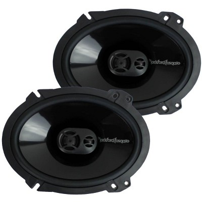 "Rockford Fosgate P1683 6x8"" 130W 4-Ohm Impedance 3-Way Car Coaxial Speakers w/ FlexFit Basket, PEI Dome Tweeter, & Butyl Rubber Surround (Pair)"