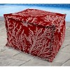 Outdoor Bean Filled Pouf/Ottoman In Seacoral Red - Jordan Manufacturing - image 3 of 3