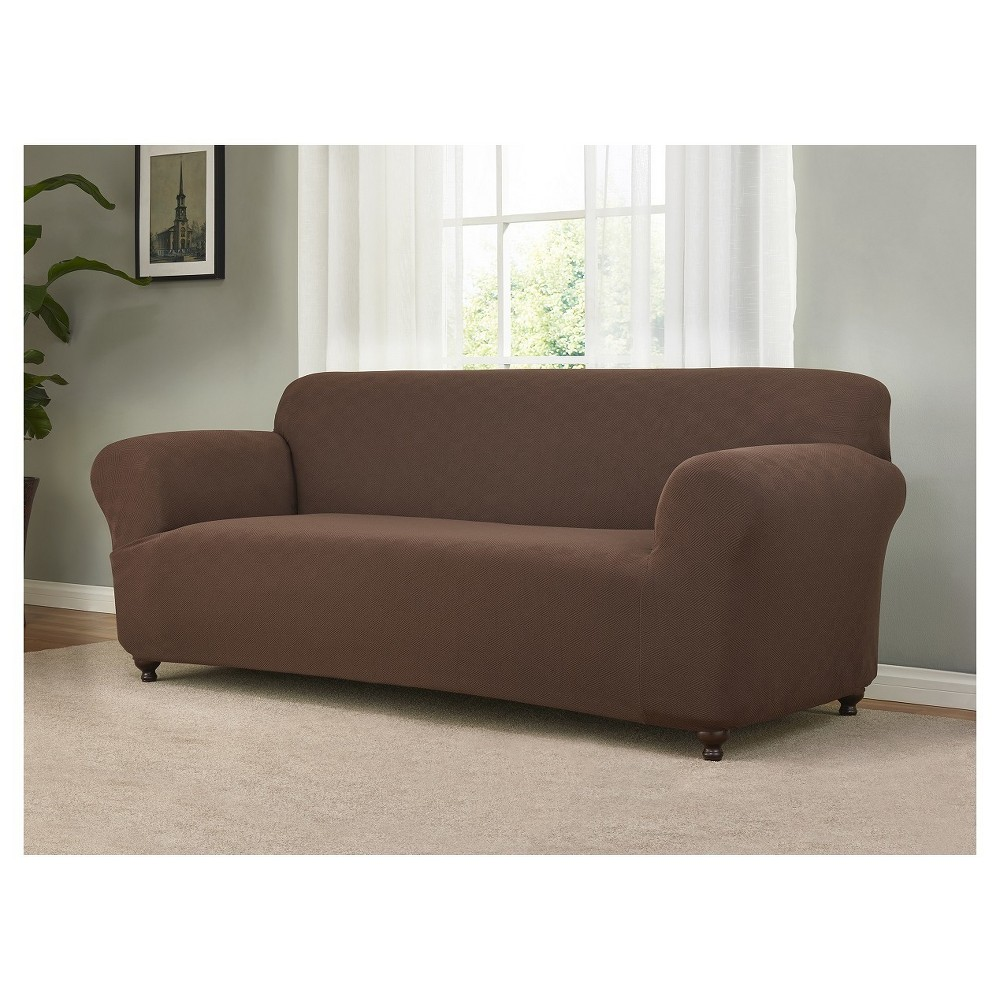 Image of Brown Solid Sofa Slipcover