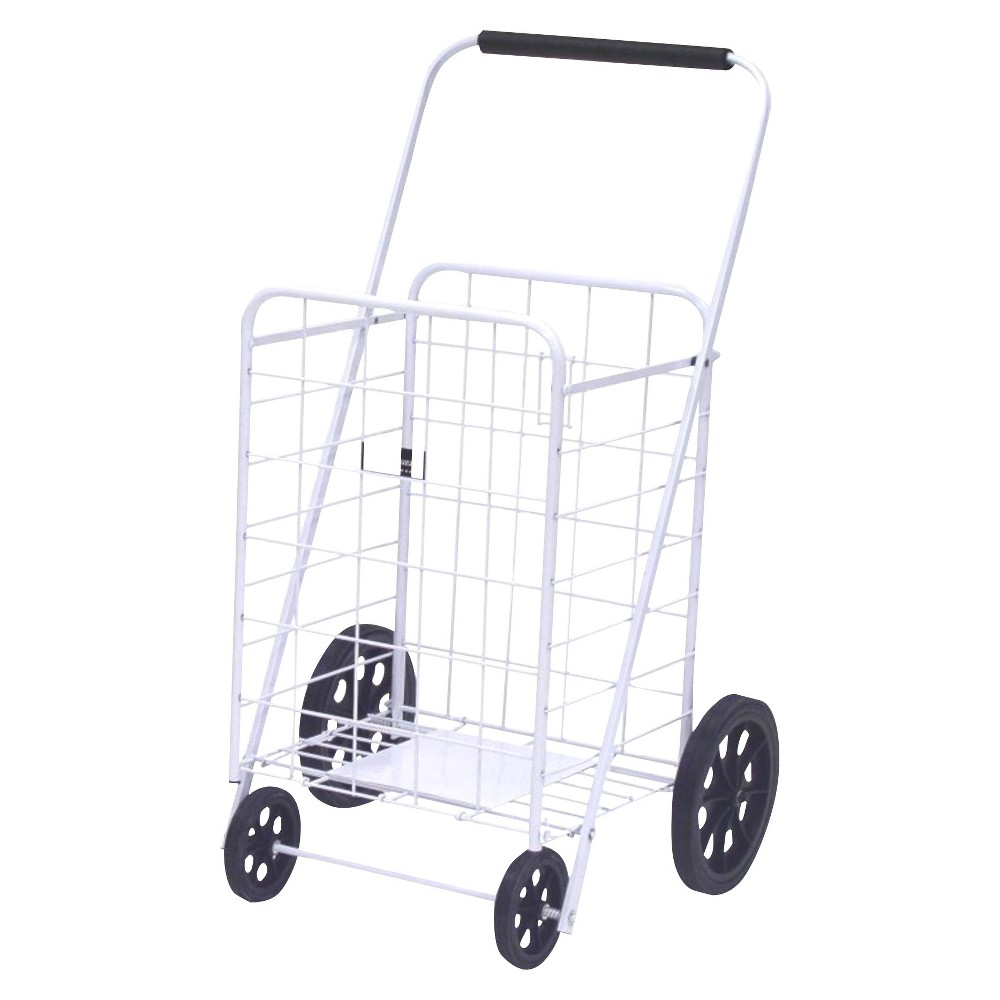 Narita Super Shopping Cart, White The exceptionally high-quality Easy Wheels Super Shopping Cart is ideal for shopping, laundry, and dozens of other purposes. This White shopping cart holds up to 250 pounds and is coated with a highly durable epoxy finish. It is constructed from heavy-gauge steel that makes this rolling shopping cart last for years. A plate is present at the bottom of this shopping cart for ultimate support. You can move this cart smoothly with the help of the hardened plastic wheels. This foldable shopping cart can be conveniently stored in a corner or closet, when not in use. Easy Wheels Super Shopping Cart: Made of heavy gauge steel for durability Durable frame with plate at bottom of basket for added support Hardened plastic wheels Folds flat for easy storage 250 lb weight capacity