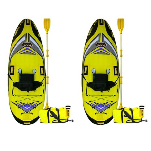 Rave Sports 1 Person Sea Rebel Lightweight Inflatable Kayak, Yellow (2 Pack)