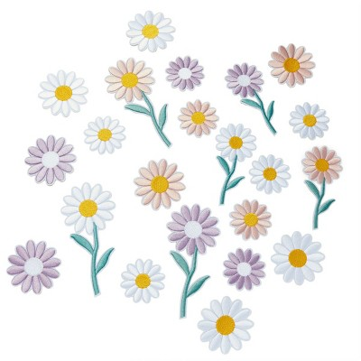 Bright Creations 22 Pieces Daisy Flower Iron on Embroidery Patches, Floral Appliques in 3 Colors