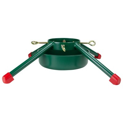 """Northlight 29.5"""" Green and Red Christmas Tree Stand Real Live Trees Up Tall"""