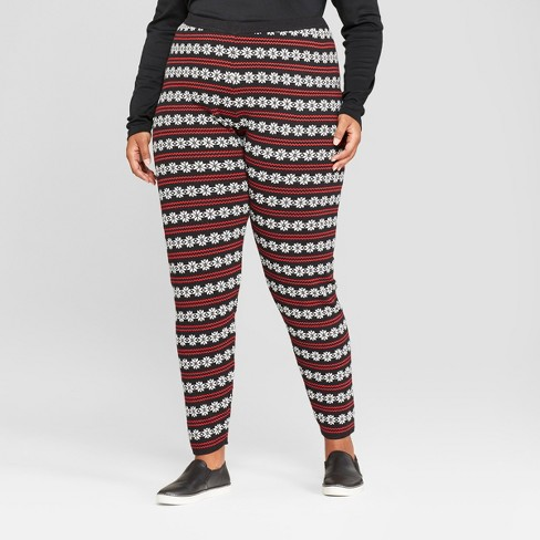 womens plus size christmas snowflake sweater leggings 33 degrees juniors black - Juniors Christmas Pajamas