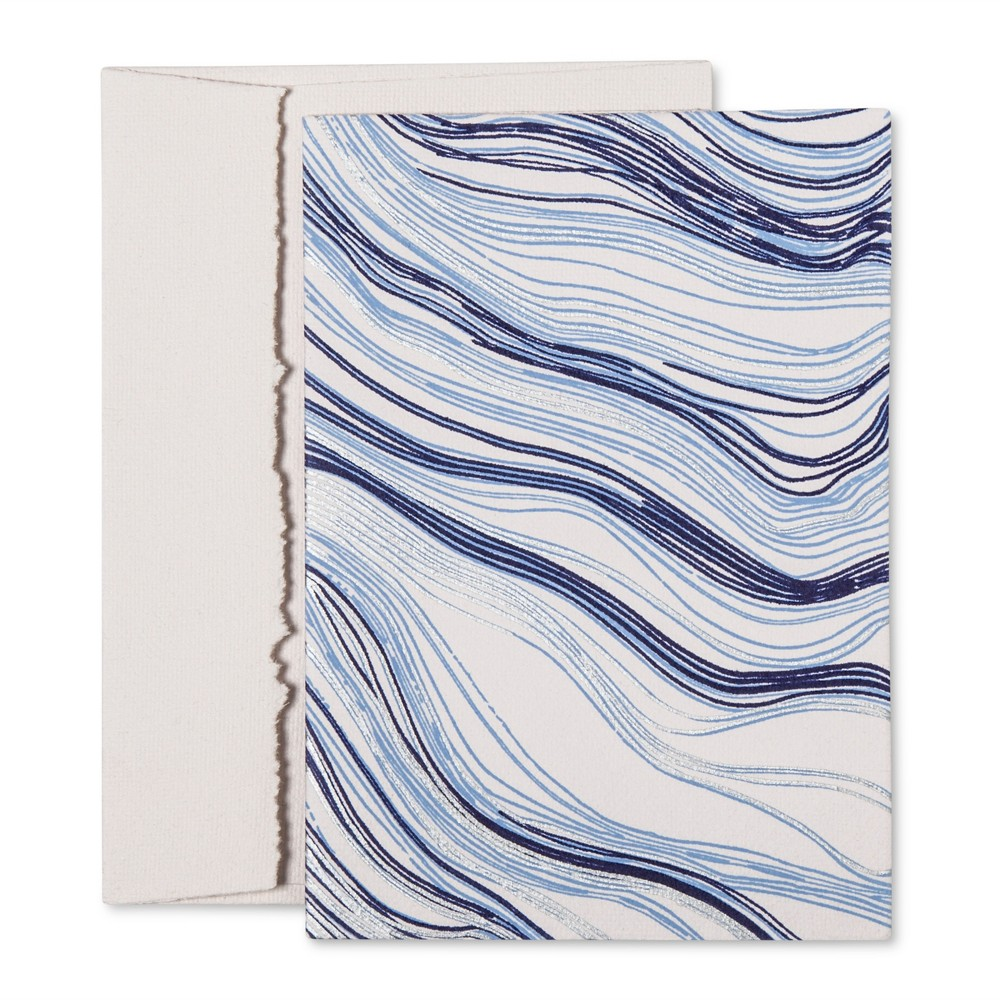 Image of Wood Grain Printed Notecards (10 pack) - Navy, Light Blue, Silver - Accompany, Blue/Light Blue