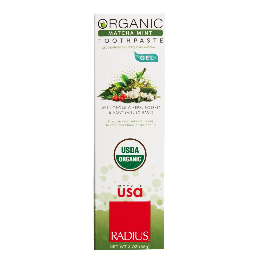 Image of Radius USDA Organic Matcha Mint Natural Gel Toothpaste - 3oz