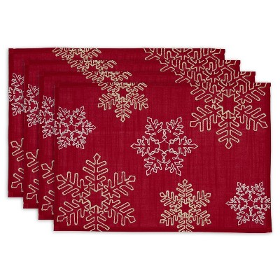 Set of 4 Embroidered Placemat Shimmering Snowflakes - Design Imports