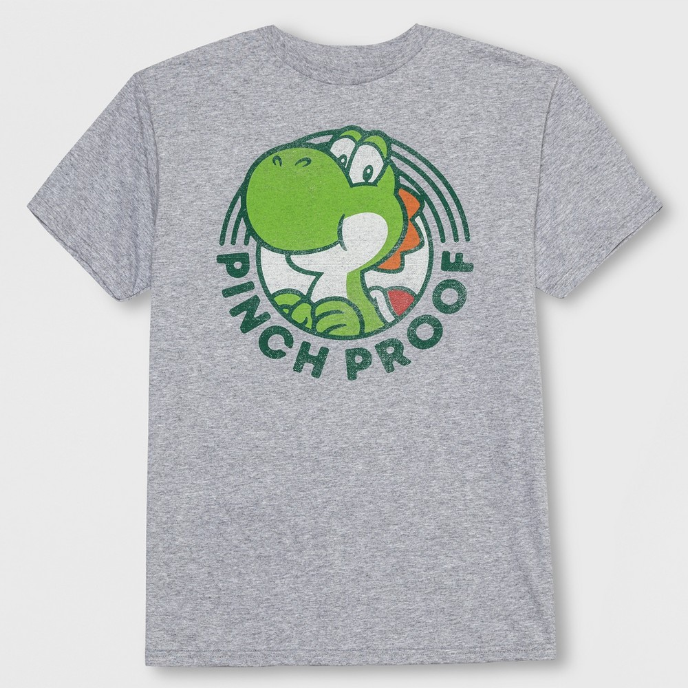 Boys' Super Mario Yoshi Pinch Proof St. Patrick's Day Short Sleeve T-Shirt - Gray XS