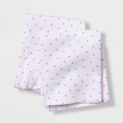 Set of 2 Micro Heart Pillowcases Coral - Pillowfort™