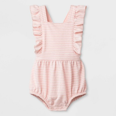 Baby Girls' Texture Knit Jacquard Cross Back Ruffle Strap Coverall Romper - Cat & Jack™ Pink 0-3M