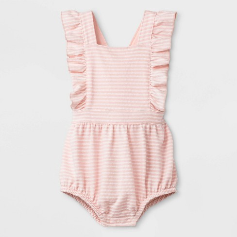 Baby Girls' Texture Knit Jacquard Cross Back Ruffle Strap Coverall Romper - Cat & Jack™ Pink - image 1 of 2