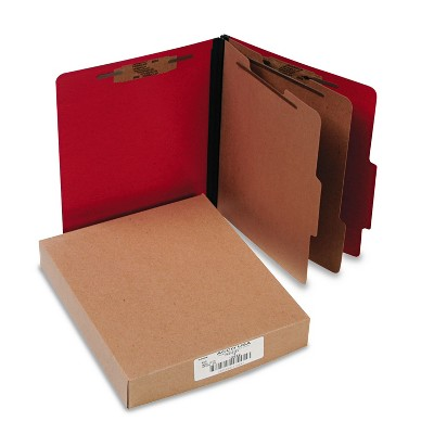 Acco ColorLife PRESSTEX Classification Folders Letter 6-Section Exec Red 10/Box 15669