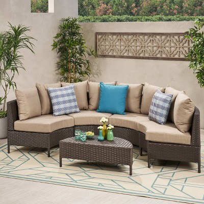 Newton 5pc Wicker Patio Lounge Set- Brown - Christopher Knight Home