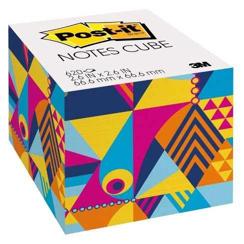 """Post-it Notes Cube, 2.6"""" x 2.6"""" - Optimistic Brights Collection, 1 Cube/Pk, 620 Sheets/Cube - image 1 of 2"""