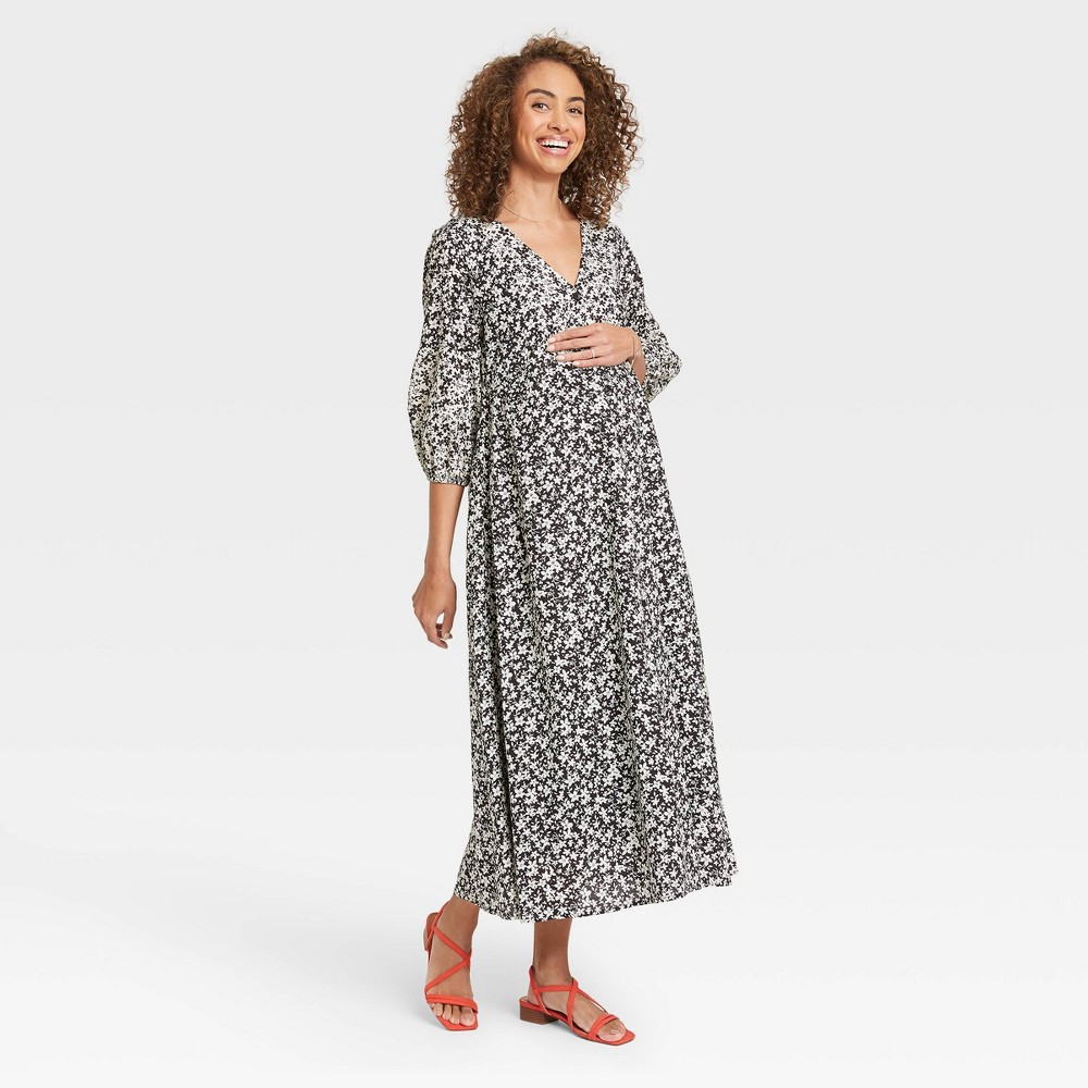 The Nines By Hatch 8482 Floral Print 3 4 Sleeve Button Front Poplin Maternity Dress Black M