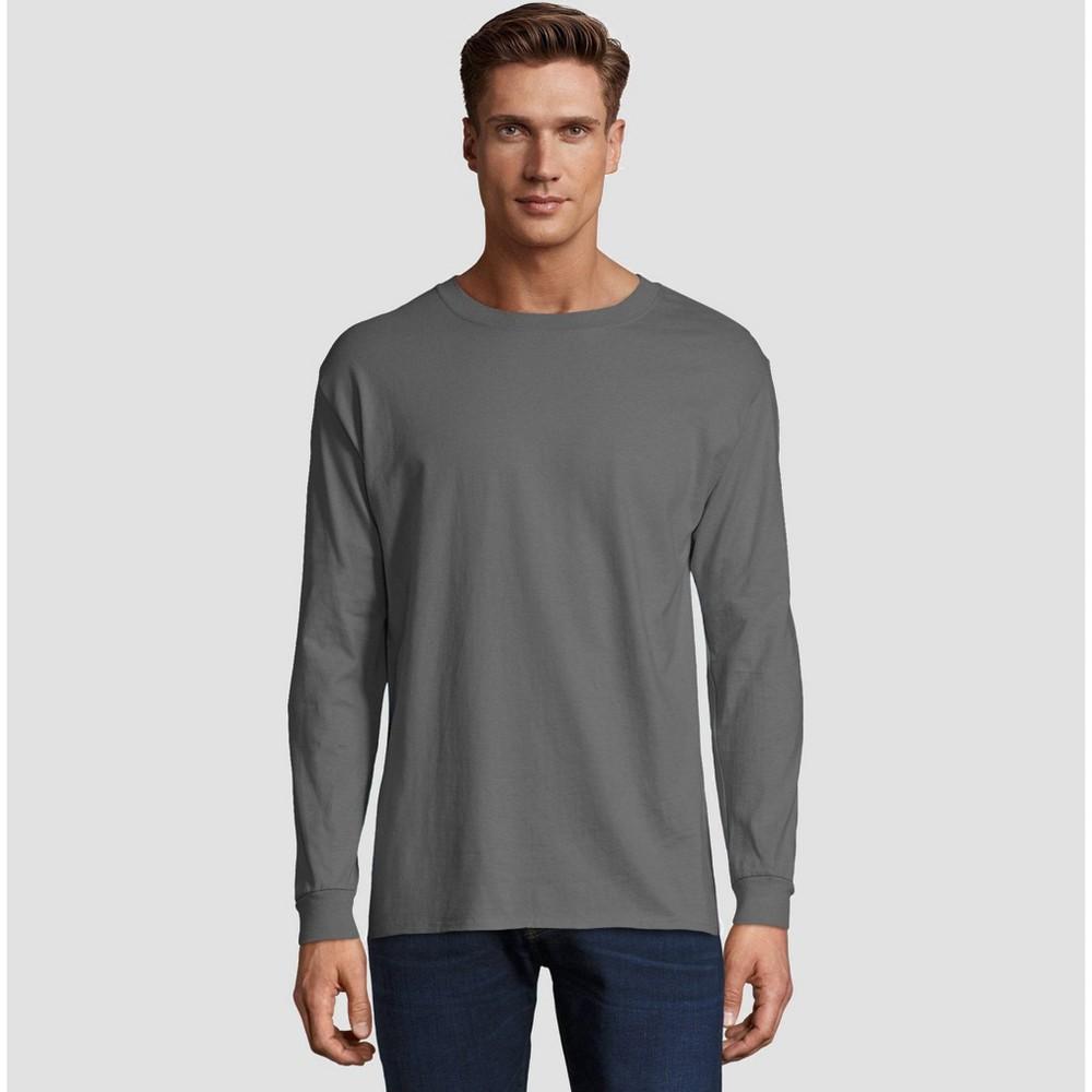 Hanes Men S Long Sleeve Beefy T Shirt Smoke S