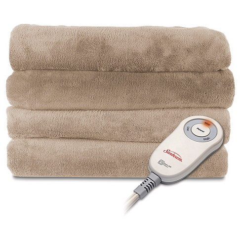 Sunbeam® SlumberRest Microplush Electric Warming Throw with foot pocket - Cream - image 1 of 1