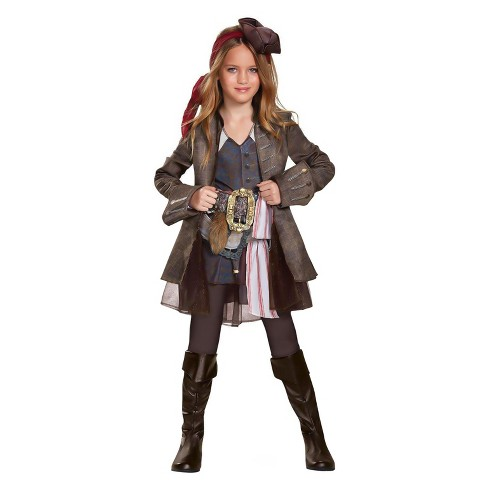 Girls' Pirates of the Caribbean Captain Jack Deluxe Costume Kit - image 1 of 1