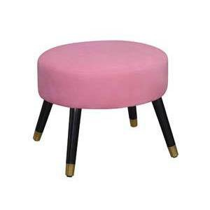 Mid-Century Modern Ottoman Stool Pink Faux Suede - Breighton Home