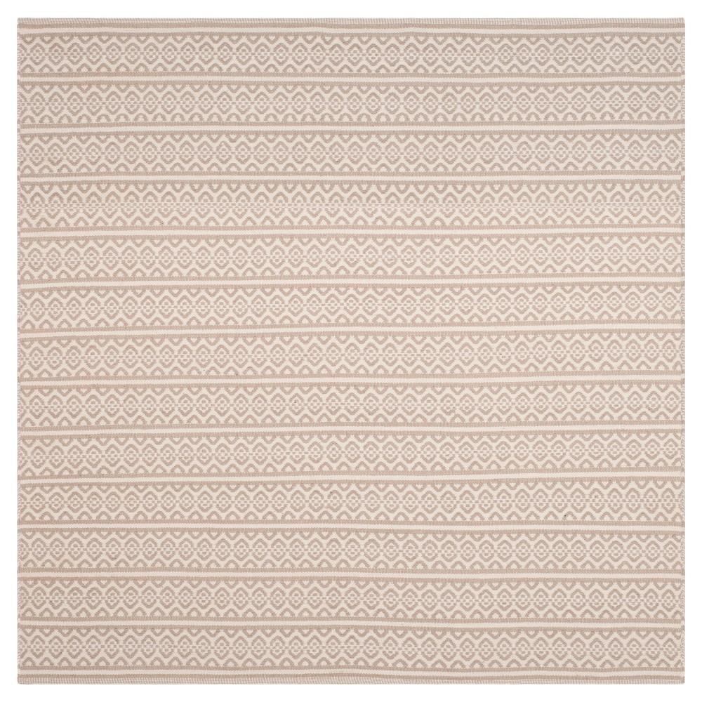 Compare Ivory Gray Geometric Woven Square Area Rug - (6X6) - Safavieh