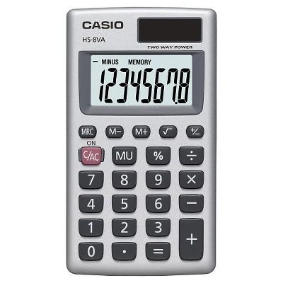 Casio HS8VA Solar Powered Pocket Calculator - Silver