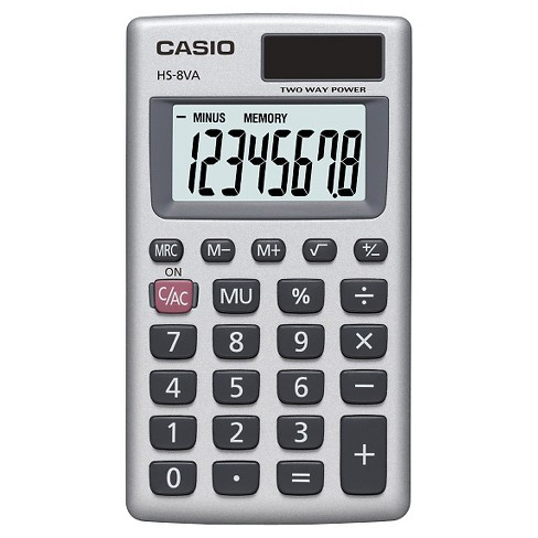 Casio HS8VA Solar Powered Pocket Calculator - Silver - image 1 of 2