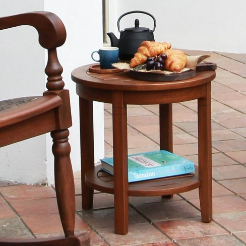 Alston Solid Wood Outdoor Side Table with Shelf - Brown - Cambridge Casual - image 1 of 4