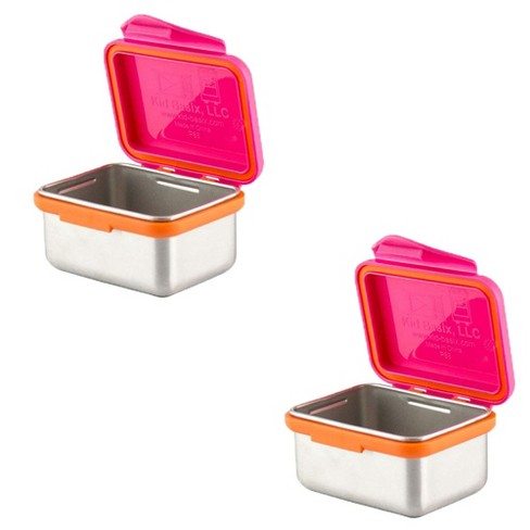Kid Basix Safe Snacker 7 Ounce Stainless Steel Lunch Box, Fushia (2 Pack) - image 1 of 1
