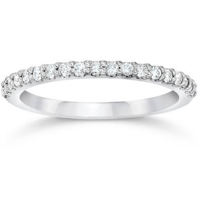 Pompeii3 Diamond Wedding Ring Band Classic 14k White Gold Engagement Anniversary Ring