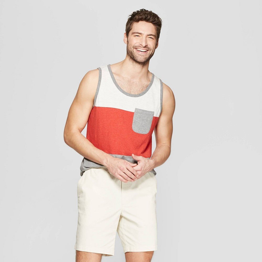 Men's Standard Fit Sleeveless Novelty Pocket Tank - Goodfellow & Co Ripe Red M