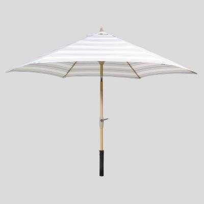 9' Round Ticking Stripe Patio Umbrella Navy - Light Wood Pole - Threshold™