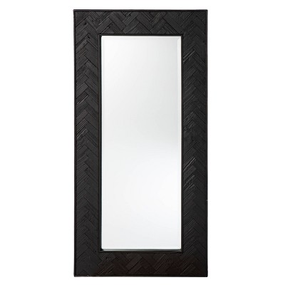 """23.75"""" x 48"""" Wood Dogafte Reclaimed Decorative Wall Mirror Black - Southern Enterprises"""