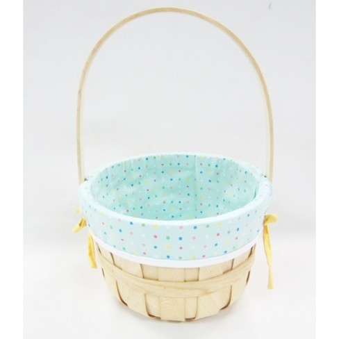 "9"" Chipwood Easter Basket with Blue Dotted Liner - Spritz™ - image 1 of 1"