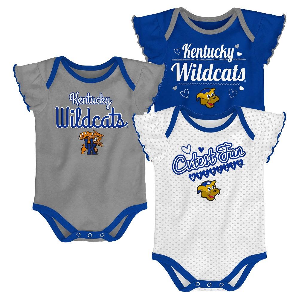 Kentucky Wildcats Baby Girls' 3pk Bodysuit - 18M, Multicolored
