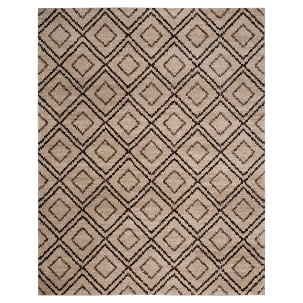 Creme/Brown Abstract Loomed Area Rug - (8'x10') - Safavieh