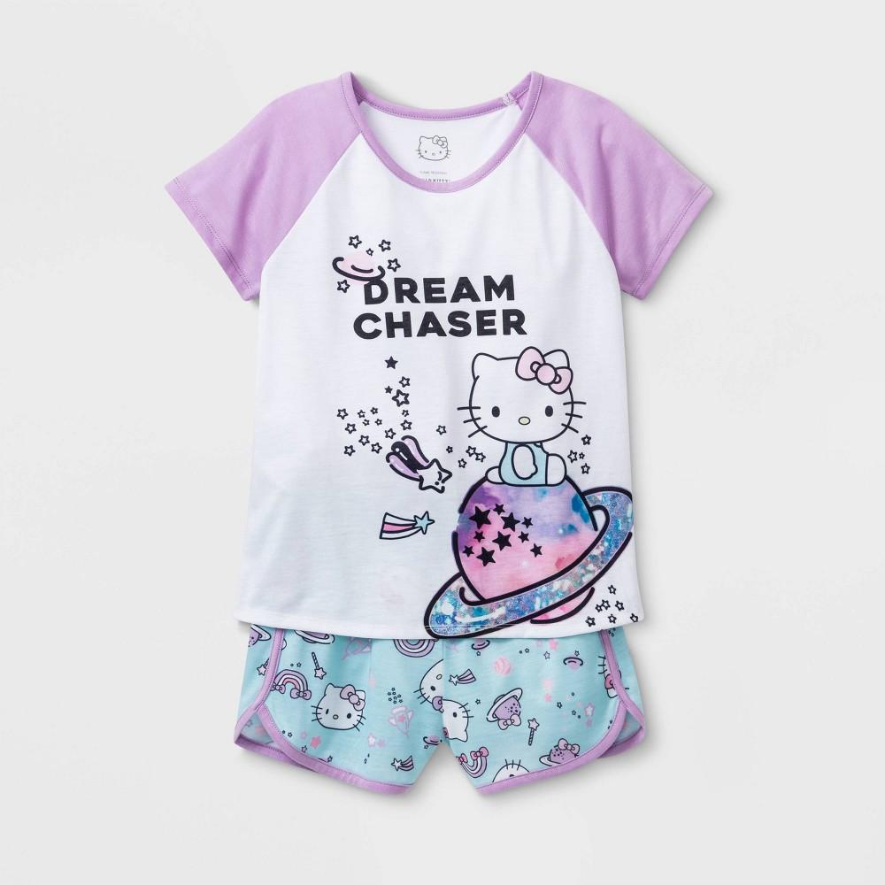 Image of Girls' Hello Kitty Dream Chaser 2pc Pajama Set - White XS, Girl's