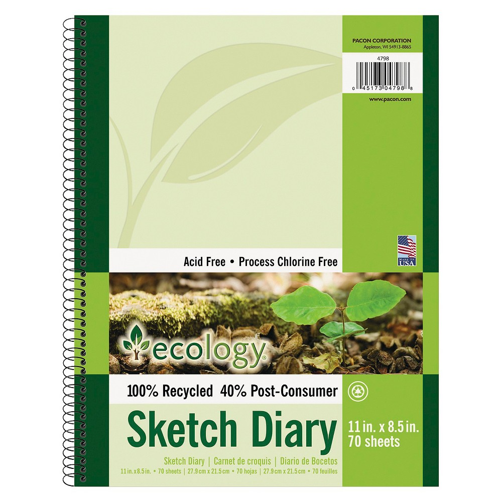 Pacon Ecology Sketch Diary, 8-1/2 x 11, Unruled - White (70 Sheets)