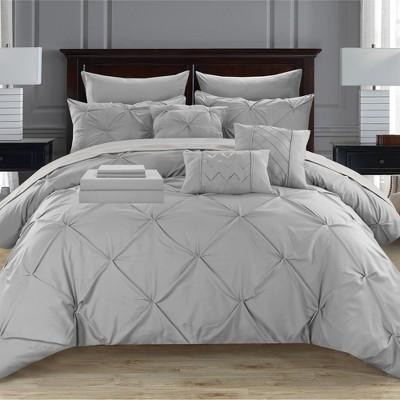 Chic Home Mycroft Pinch Pleated Decorative Pillows & Shams - Silver