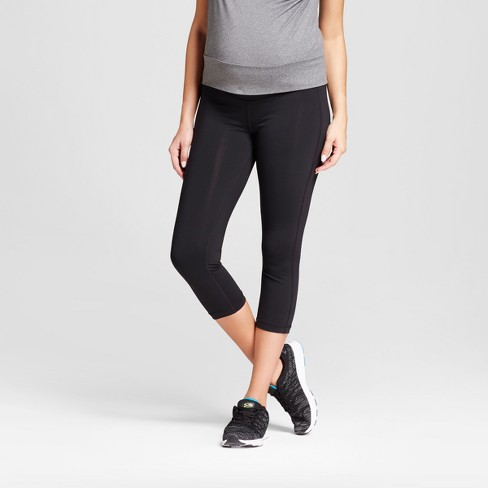 Maternity Crop Leggings with Crossover Panel