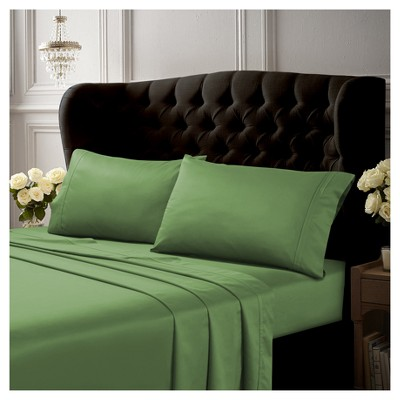 Long Staple Cotton Sateen Deep Pocket Solid Sheet Set (King)4pc Green 500 Thread Count - Tribeca Living