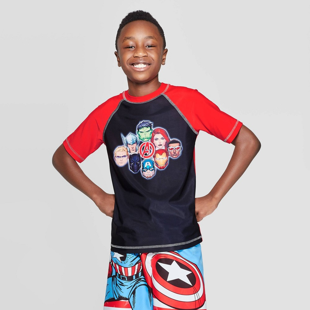 Image of Boys' Avengers Rash Guard - Black/Red S, Boy's, Size: Small