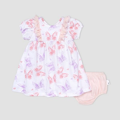 Burt's Bees Baby® Baby Girls' Butterfly Buddies Dress and Diaper Cover Set - Pink