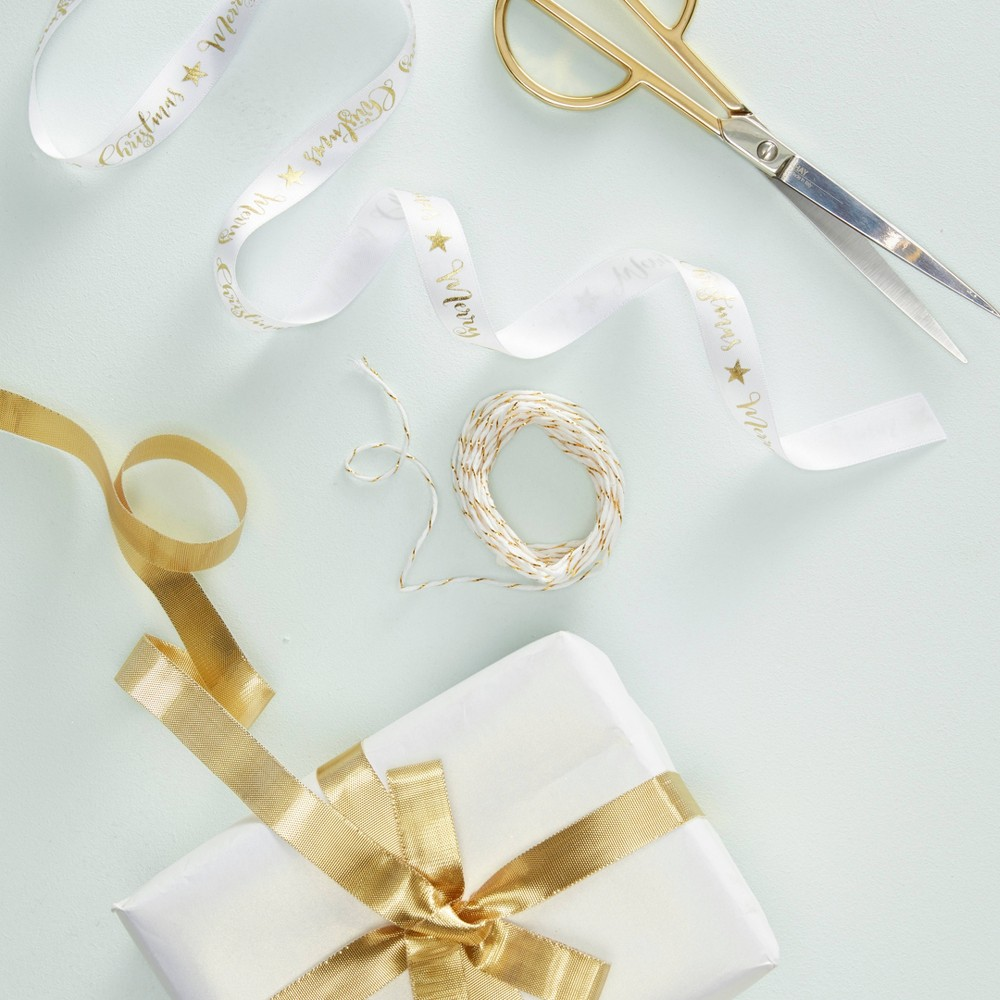 "Image of """"""Merry Christmas"""" Metallic Star Foil Ribbon Gold"""