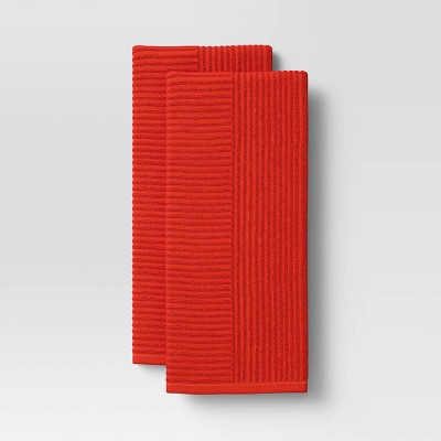 2pk Cotton Solid Ribbed Terry Kitchen Towels - Project 62™