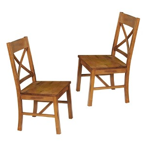 Antique Brown Wood Dining Kitchen Chairs, Set of 2 - Saracina Home