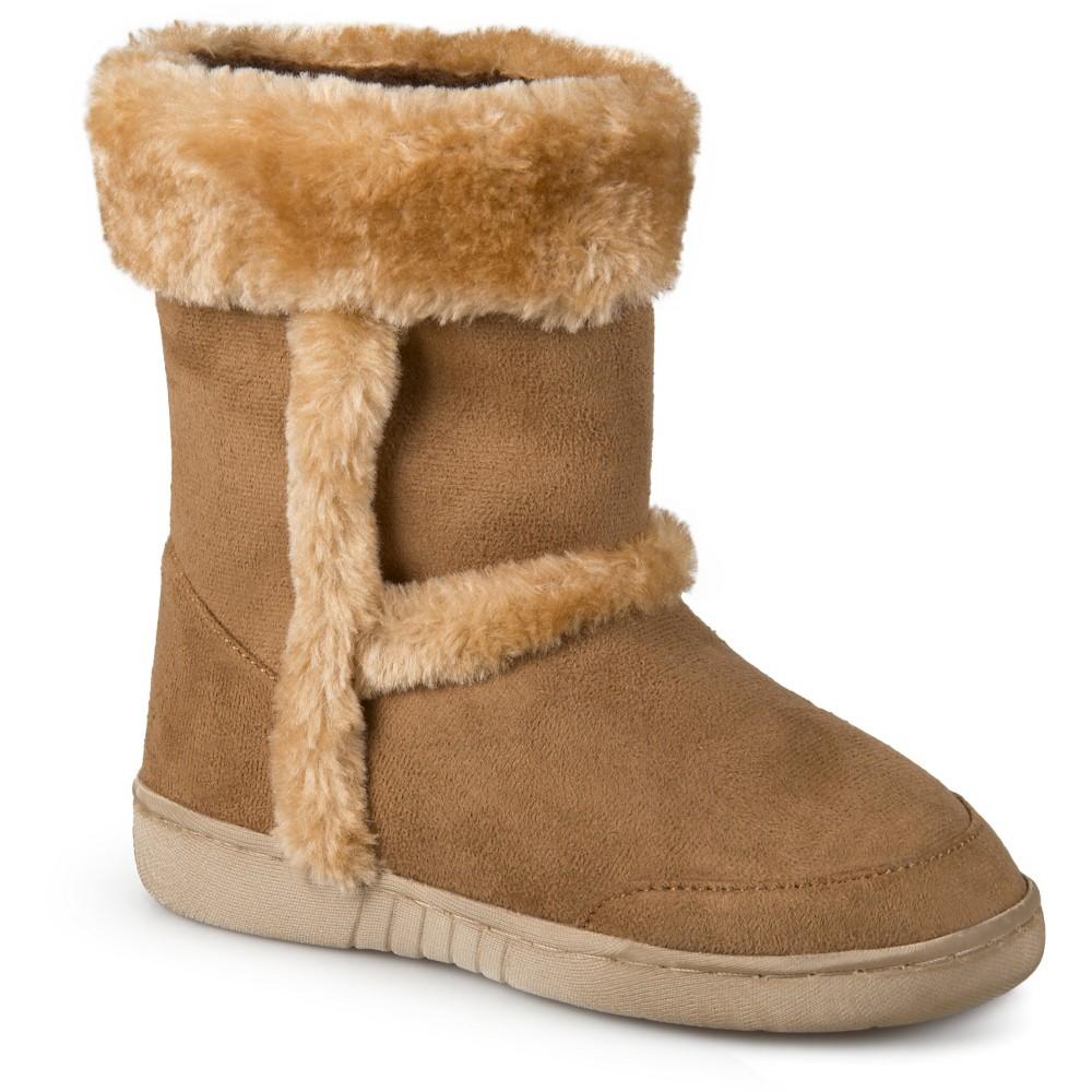 Girls' Journee Collection Chuckie Faux Fur Trim Fashion Boots - Chestnut 12, Dark Chestnut