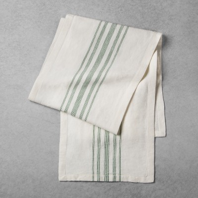 Striped Woven Table Runner - Cream/Green - Hearth & Hand™ with Magnolia